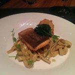 Sea trout, truffle tagliatelle, garlic spinach and shrimp
