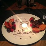 Unexpected surprise fruit and chocolate if you say it's your birthday when booking!