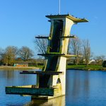 Coate Water disused historic diving board