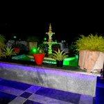 Rooftop restaurant at night