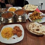 chicken tikka masala, pilau rice, naan & onion bhaji