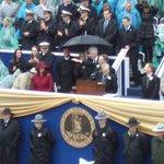 Bill & Hillary  w/ Jefferson Hotel Umbrella at Inauguration