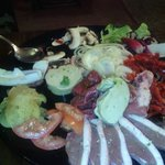 Giant plate of fresh meat and vegetables to cook on your own grill!