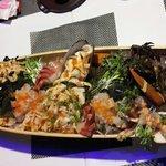 Lobster sashimi and assorted sashimi.