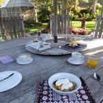 Breakfast setting in the garden