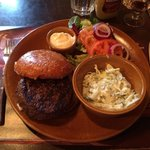 Hamburger with coleslaw