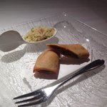 Couscous with curried lamb spring roll