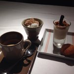 Espresso with chocolate mousse and a Madeleine