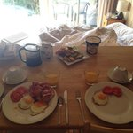 The included breakfast which we cooked. Was beautiful ground coffee in the fridge which we brewe