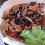 Spicy chicken with basil , this so yummy