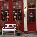 The B&B's festively decorated exterior.  The location is second to none.