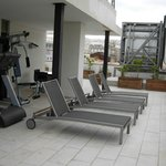 The fitness area situated on the terrace at the highest floor