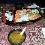 miso soup&sushi sashimi platter for 2