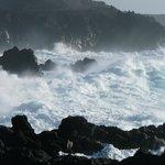 waves crashing on rocks near El Golfo