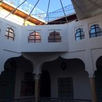 looking into the main aitrium of the Riad, it's open air!