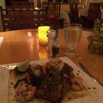 Blackened Mahi Mahi w/ grilled shrimp & vegetables