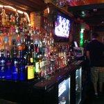A pretty stocked bar; a few flat screens