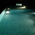 Night view of in house pool in villa