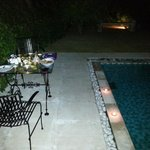 pool side dinner - in house villa