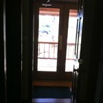 Laurelwood Inn Rm 302 outer entry door viewed from in room