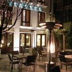 Hotel outdoor restaurant.