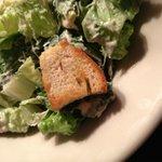 Fresh baked crouton on Caesar salad