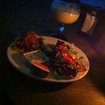 Pinada and shrimp tacos on the beach.