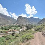 View of Ollantaytambo from the easy trek across the river (also free)