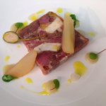 A lovely special at the Anglers Rest. Confit duck, ham hock and chicken terrine.