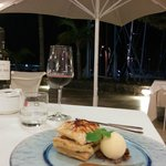 a delicious dish and view into the habour