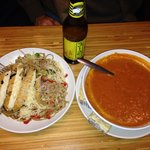 Whole grain Tuscan linguini.  Tomato basil bisque. Good island 312.