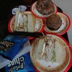 Turkey sandwich, bagel and cupcake