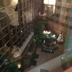 View of atrium from room - Christmas/holiday decorations and setting up for First Night