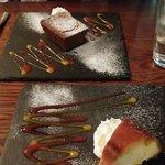Puddings: Chocolate brownie & Caramel flan