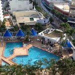 view of hotel pool from above.
