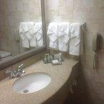 Vanity area in bathroom