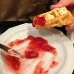 Home-made strawberry jam with toasted waffles - delicious!