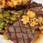 Grilled Ribeye with Roasted Cauliflower & Brussel Sprouts and Twice-baked Potato