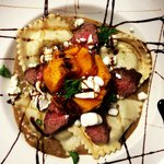 Roasted Butternut Squash with Goat Cheese Ravioli and Flank Steak