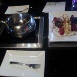 Dark chocolate fondue for dessert