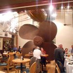 The big ship's propellor in the restaurant
