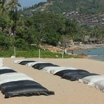 Black and White beds on beach area
