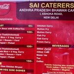 The AP Bhavan Canteen Price Chart