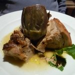 delicious baked suckling pig with white truffle sauce