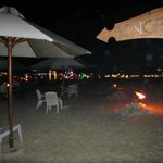 View of the beach from drinks table