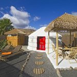 Palm yurt outdoor space