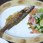 Nilbarsch im Beachrestaurant mittags