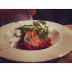 Cod with tomato/chorizo stew