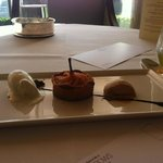 Pear and Frangipane tart, praline parfait & Douglas fir ice cream