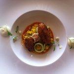 Smoked haddock fritters, Moroccan couscous & lemon yogurt